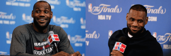 Left: Lebron James at NBA finals 2014, Right: Lebron James at Game One of NBA Finals 2015