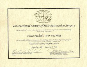 Parsa Mohebi Hair Restoration is now an ISHRS Fellowship Training Center