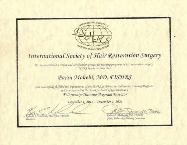 Parsa Mohebi Hair Restoration is now an ISHRS Fellowship Training Center