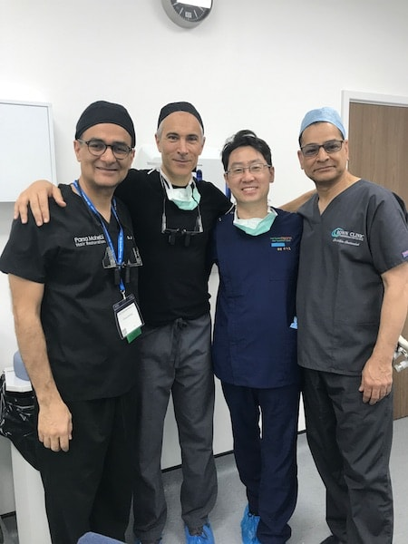 Dr. Mohebi and fellow surgeons at the FUE Workshop in Europe